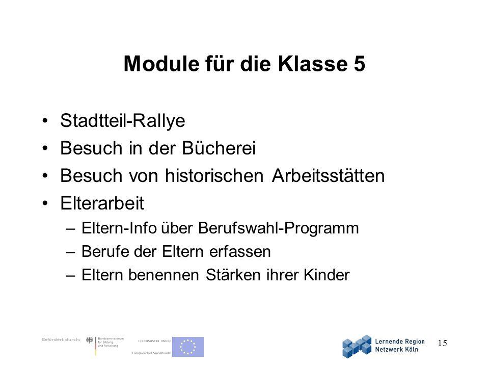 Module für die Klasse 5 Stadtteil-Rallye Besuch in der Bücherei