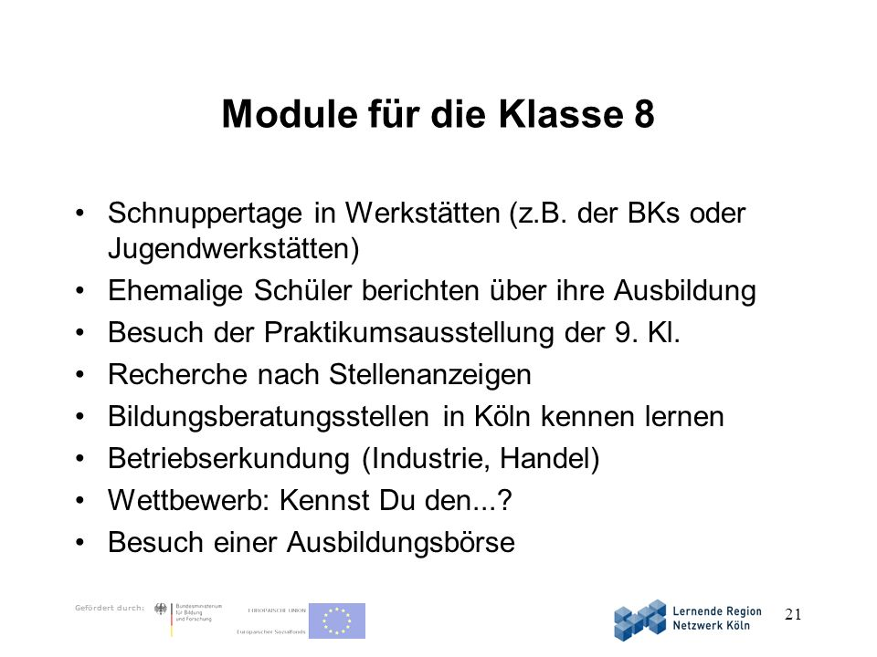 Module für die Klasse 8 Schnuppertage in Werkstätten (z.B. der BKs oder Jugendwerkstätten) Ehemalige Schüler berichten über ihre Ausbildung.