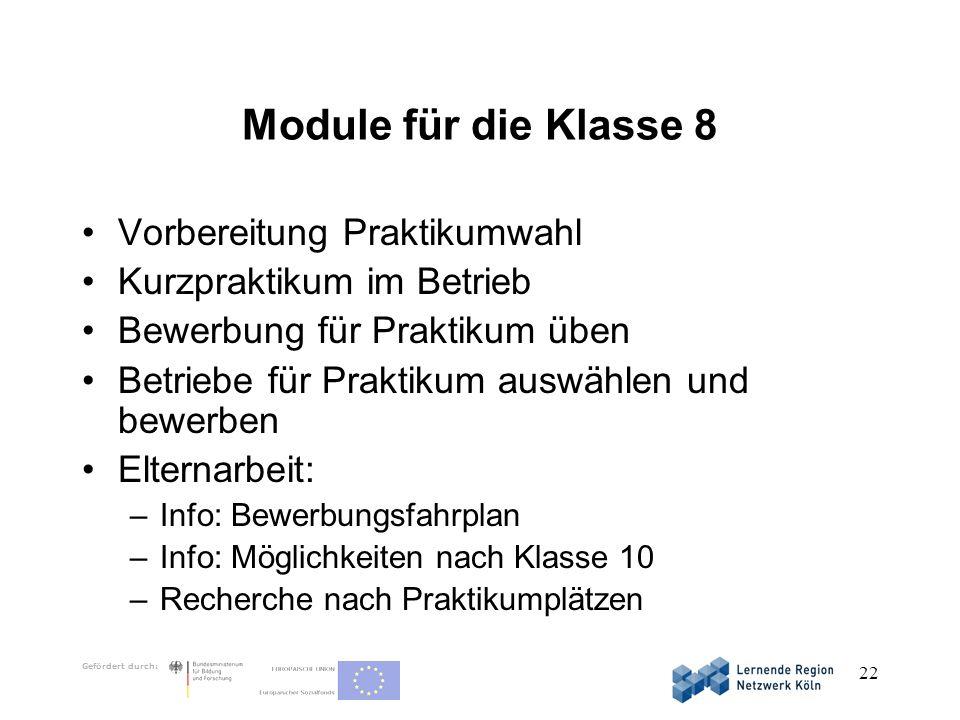 Module für die Klasse 8 Vorbereitung Praktikumwahl