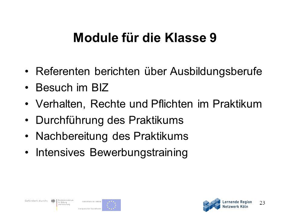 Module für die Klasse 9 Referenten berichten über Ausbildungsberufe