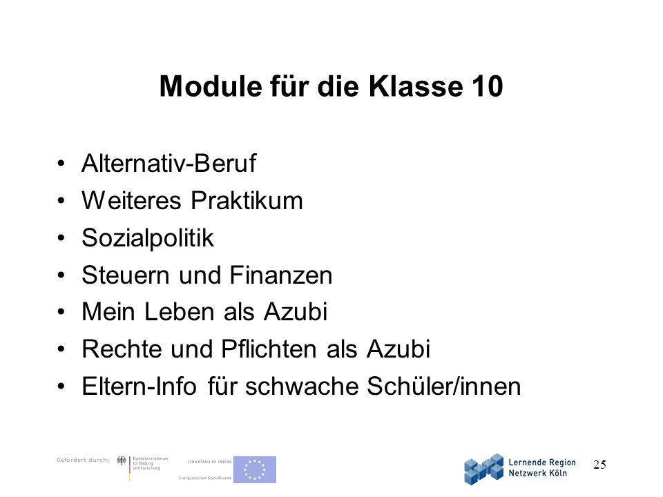 Module für die Klasse 10 Alternativ-Beruf Weiteres Praktikum