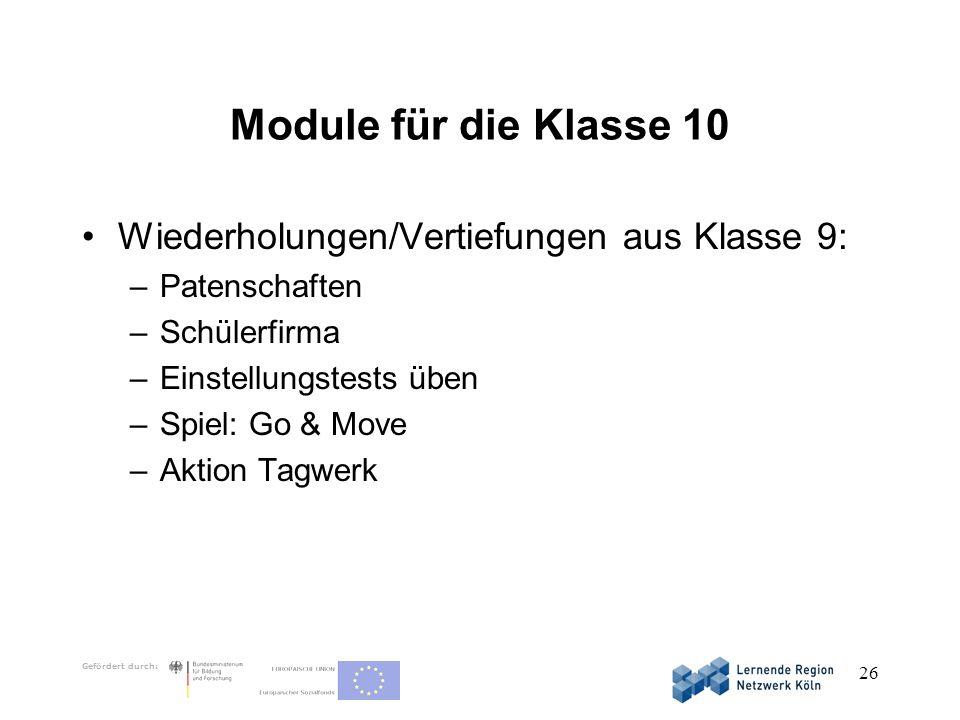 Module für die Klasse 10 Wiederholungen/Vertiefungen aus Klasse 9: