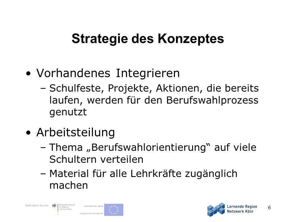Strategie des Konzeptes
