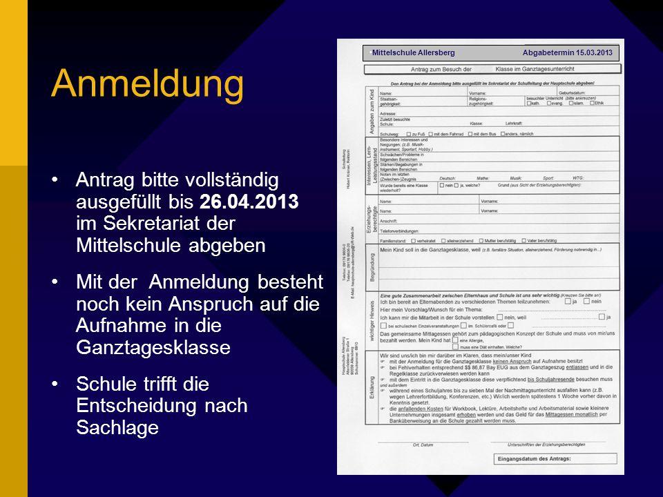 Mittelschule Allersberg Abgabetermin 15.03.2013
