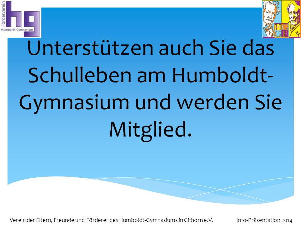 Unterstützen auch Sie das Schulleben am Humboldt-Gymnasium und werden Sie Mitglied.