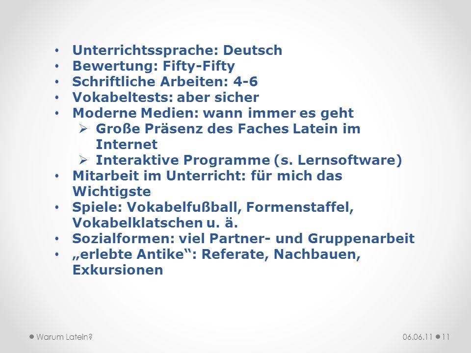 Unterrichtssprache: Deutsch Bewertung: Fifty-Fifty