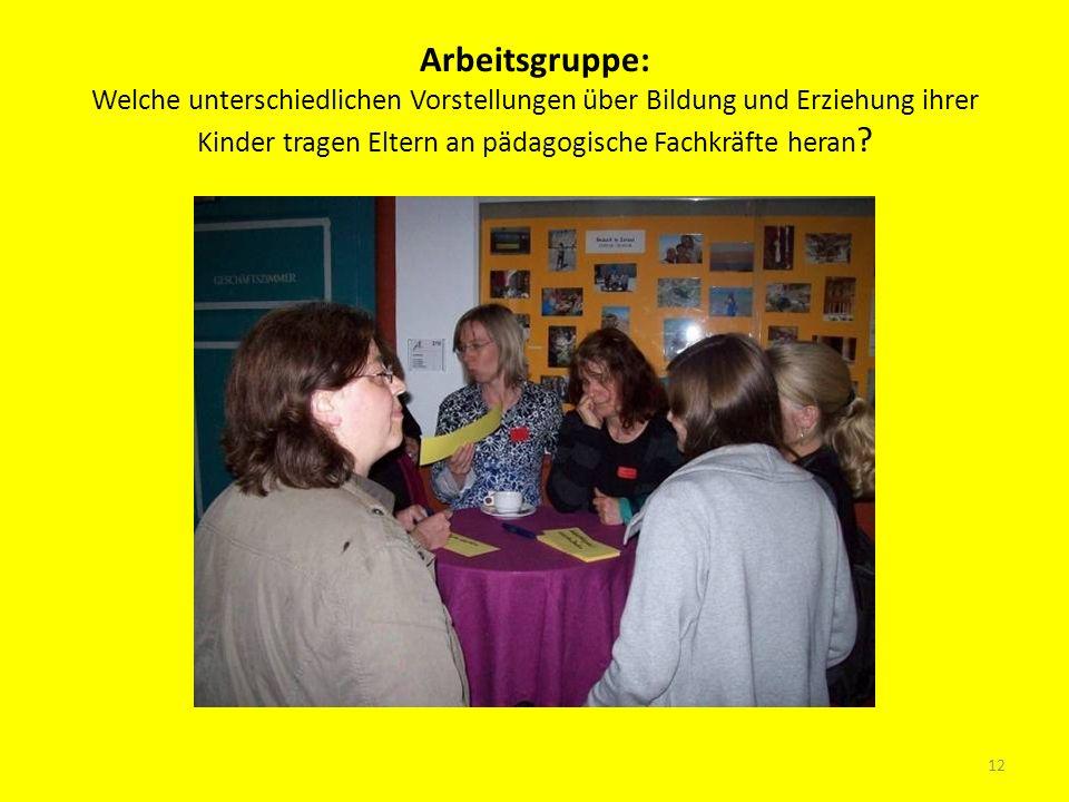 Arbeitsgruppe: Welche unterschiedlichen Vorstellungen über Bildung und Erziehung ihrer Kinder tragen Eltern an pädagogische Fachkräfte heran