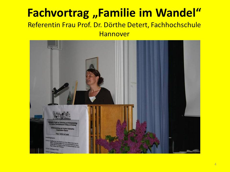 "Fachvortrag ""Familie im Wandel Referentin Frau Prof. Dr"
