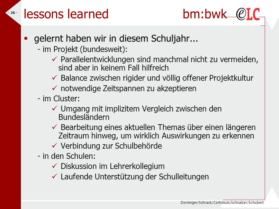 lessons learned bm:bwk