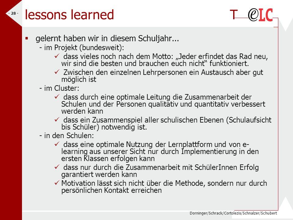 lessons learned T gelernt haben wir in diesem Schuljahr...