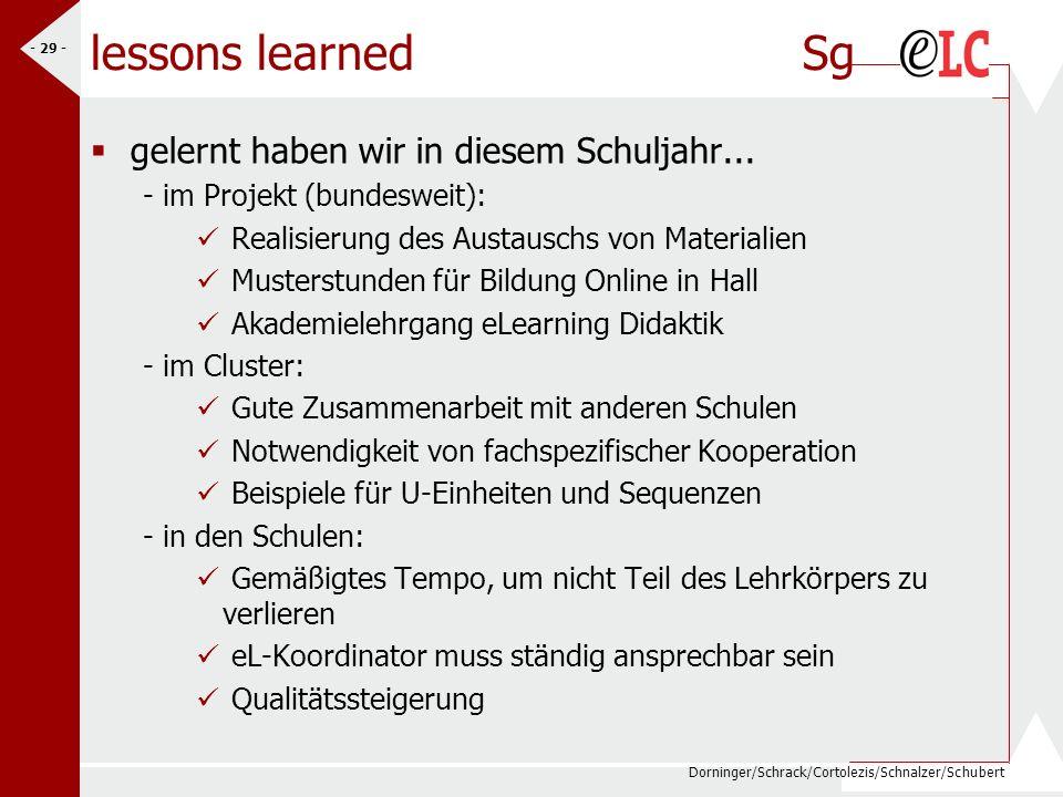 lessons learned Sg gelernt haben wir in diesem Schuljahr...