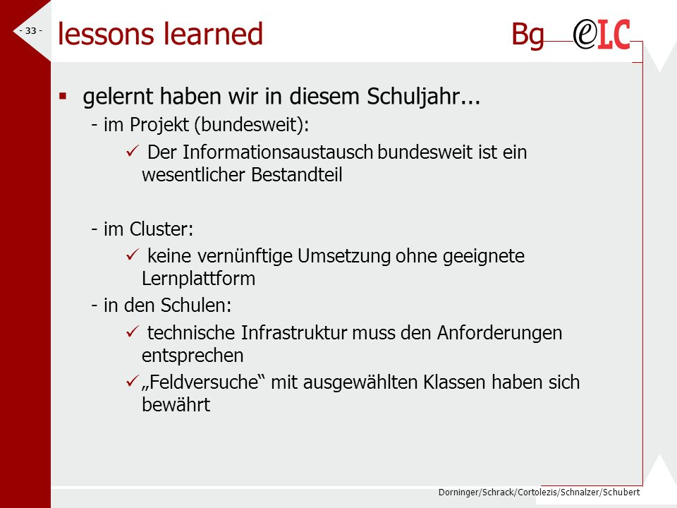 lessons learned Bg gelernt haben wir in diesem Schuljahr...