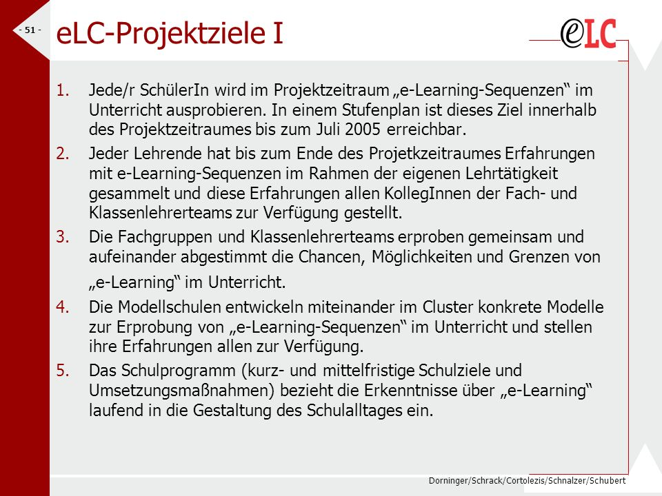 eLC-Projektziele I