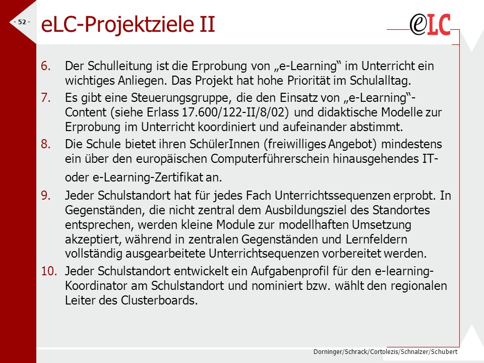 eLC-Projektziele II