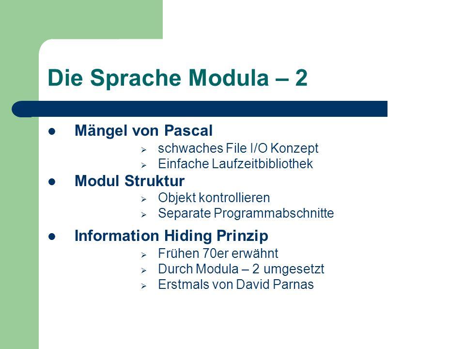 Die Sprache Modula – 2 Mängel von Pascal Modul Struktur