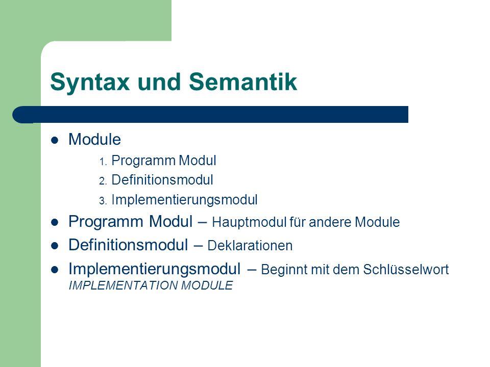 Syntax und Semantik Module