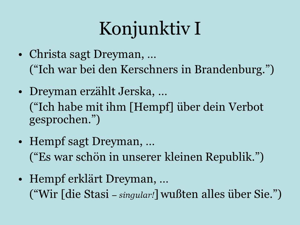 Konjunktiv I Christa sagt Dreyman, …