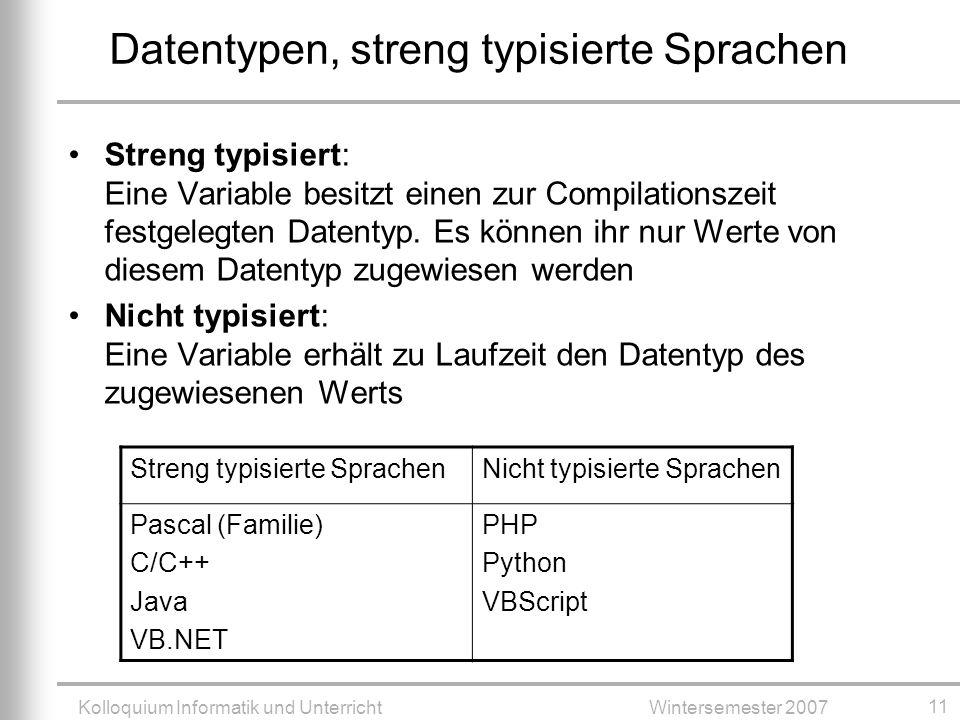 Datentypen, streng typisierte Sprachen