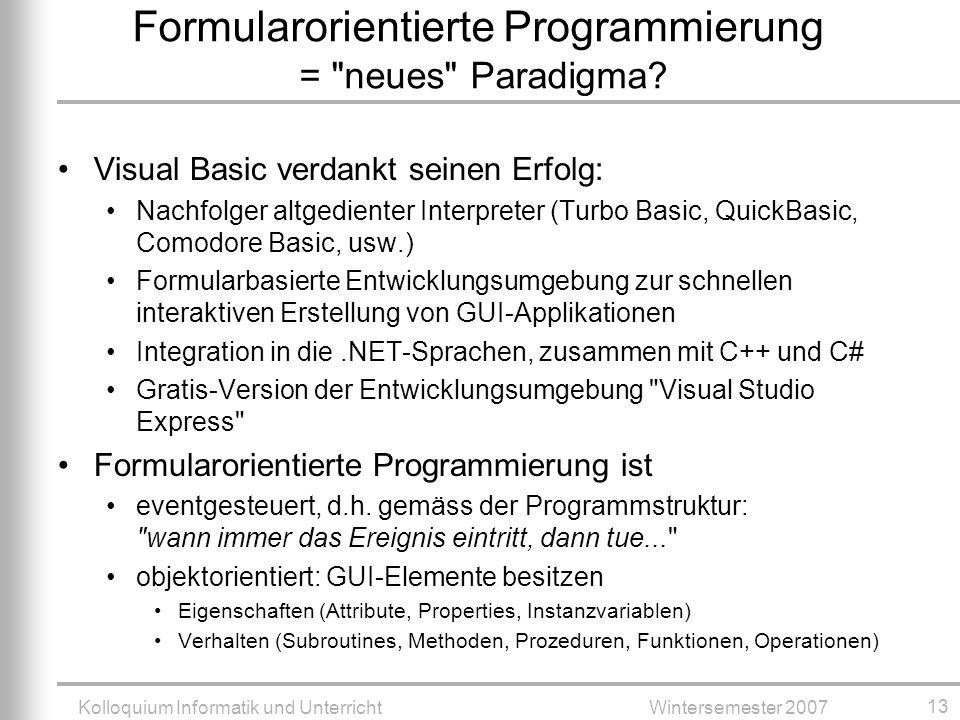 Formularorientierte Programmierung = neues Paradigma