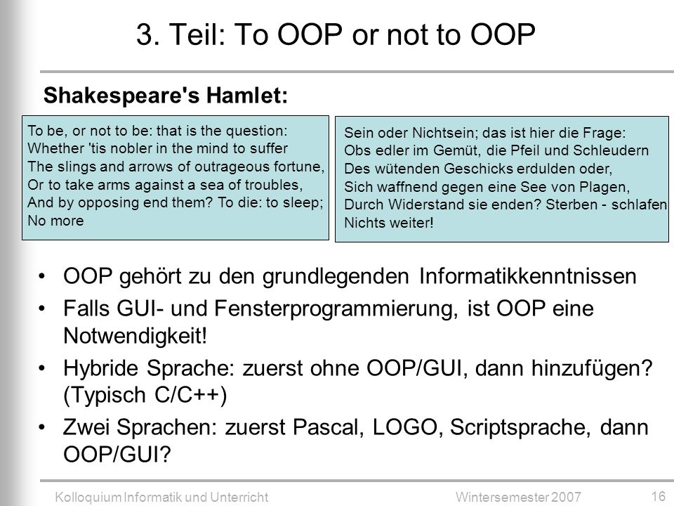 3. Teil: To OOP or not to OOP