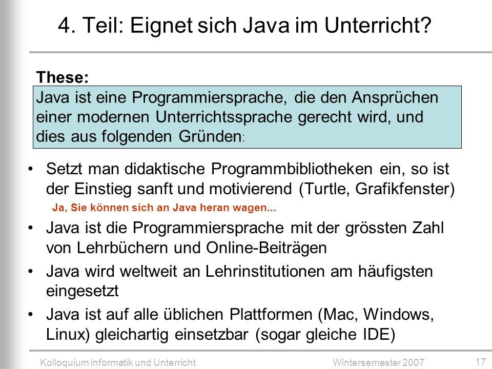 4. Teil: Eignet sich Java im Unterricht