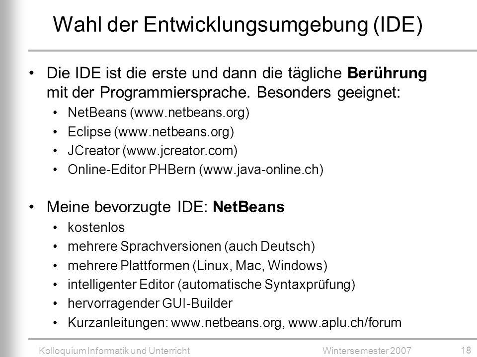 Wahl der Entwicklungsumgebung (IDE)