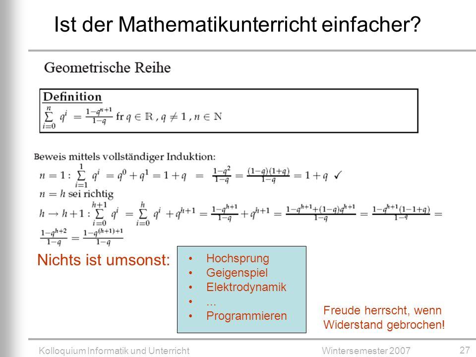 Ist der Mathematikunterricht einfacher