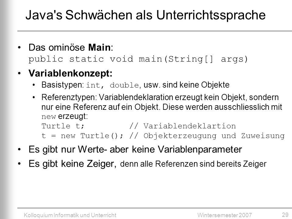 Java s Schwächen als Unterrichtssprache