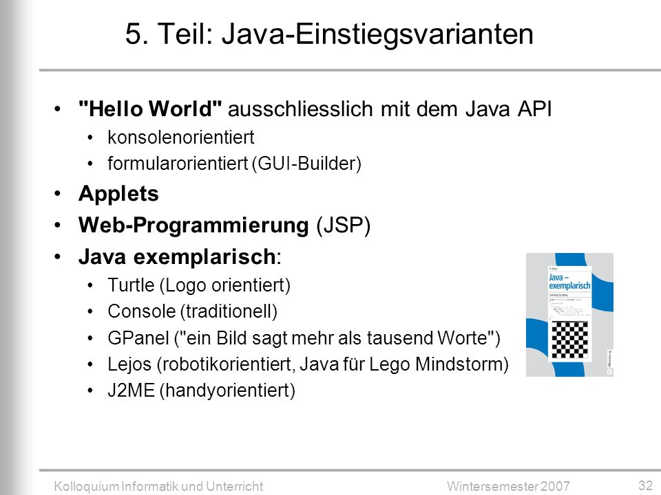 5. Teil: Java-Einstiegsvarianten