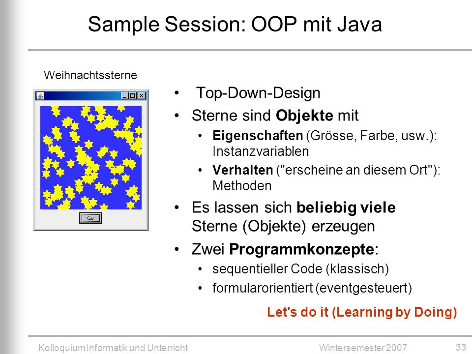 Sample Session: OOP mit Java
