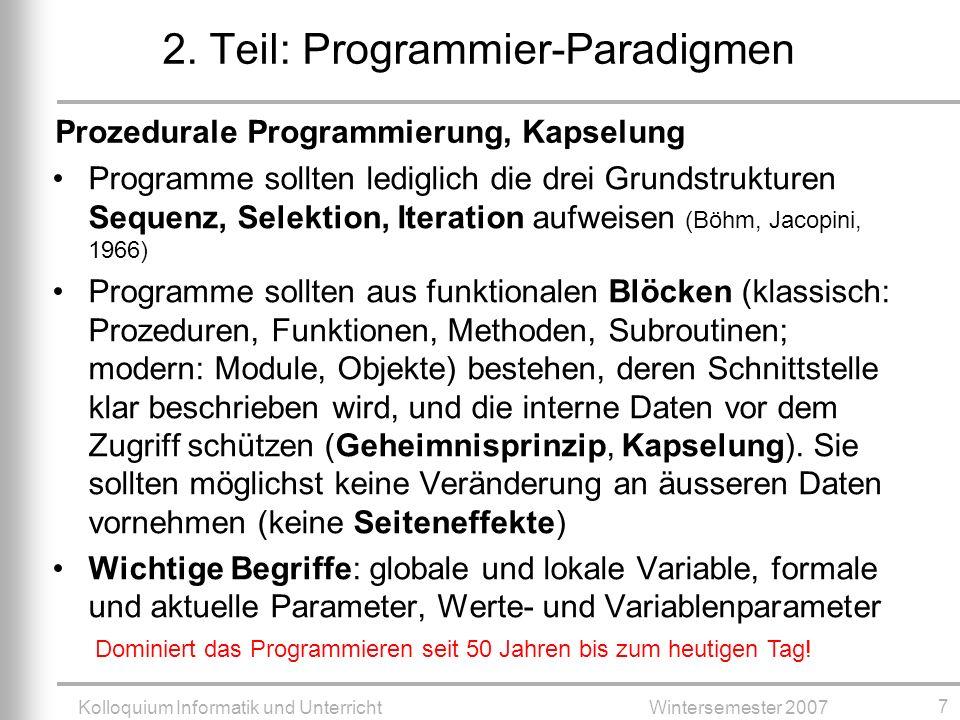 2. Teil: Programmier-Paradigmen