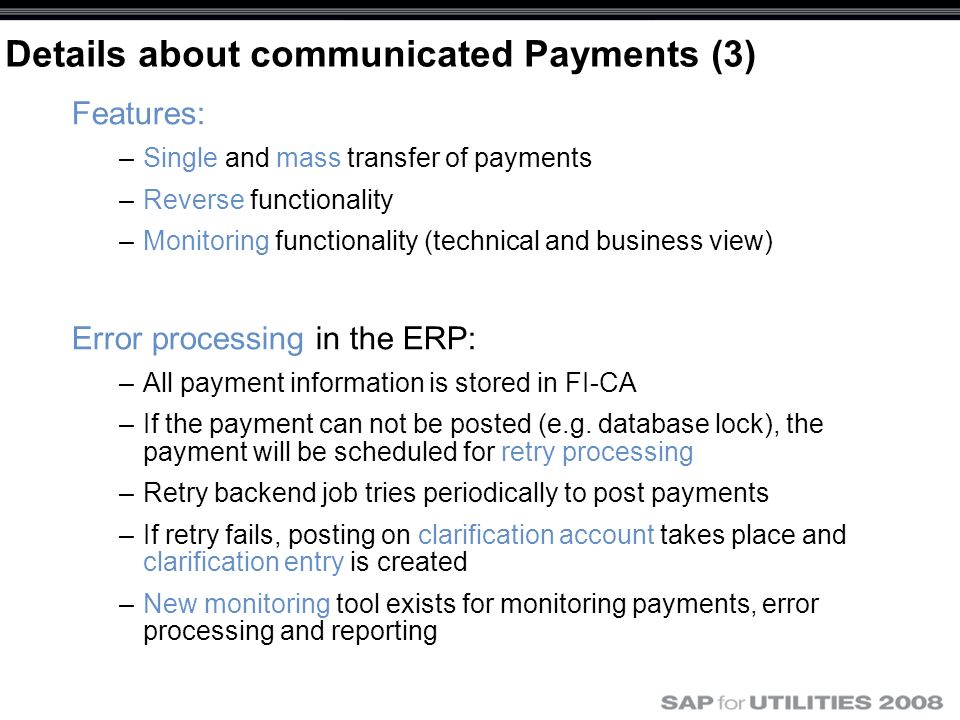 Details about communicated Payments (3)