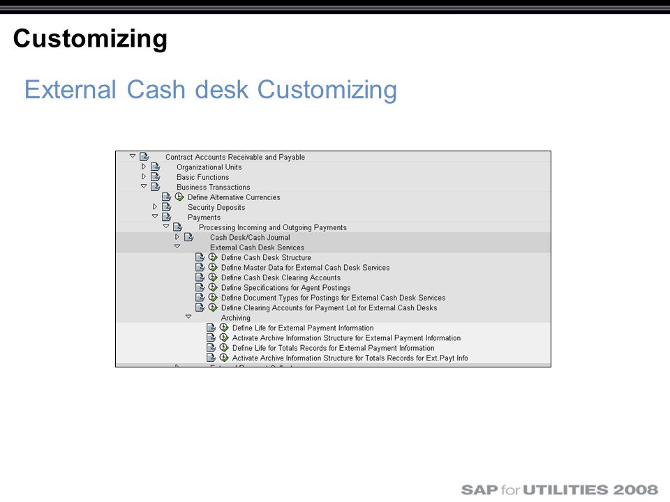 External Cash desk Customizing