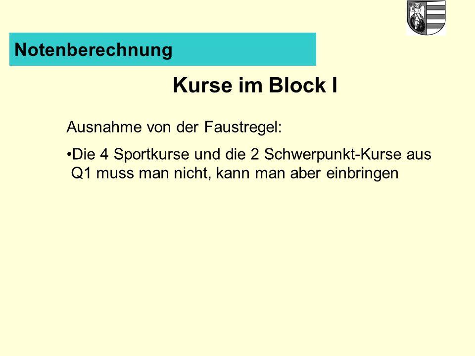 Kurse im Block I Notenberechnung Ausnahme von der Faustregel: