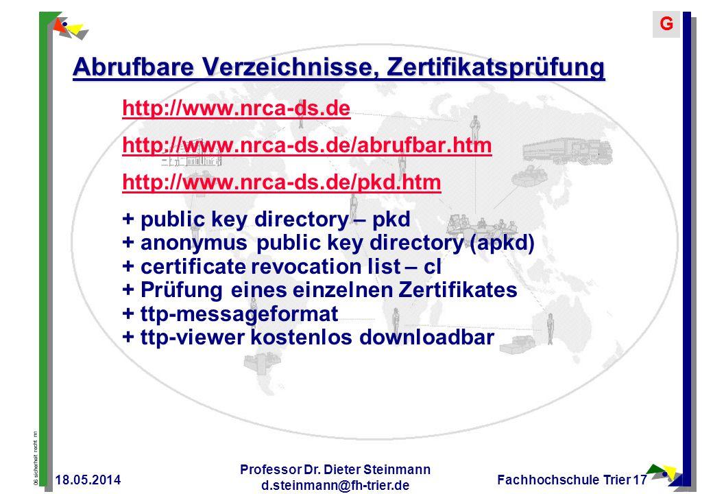 Abrufbare Verzeichnisse, Zertifikatsprüfung