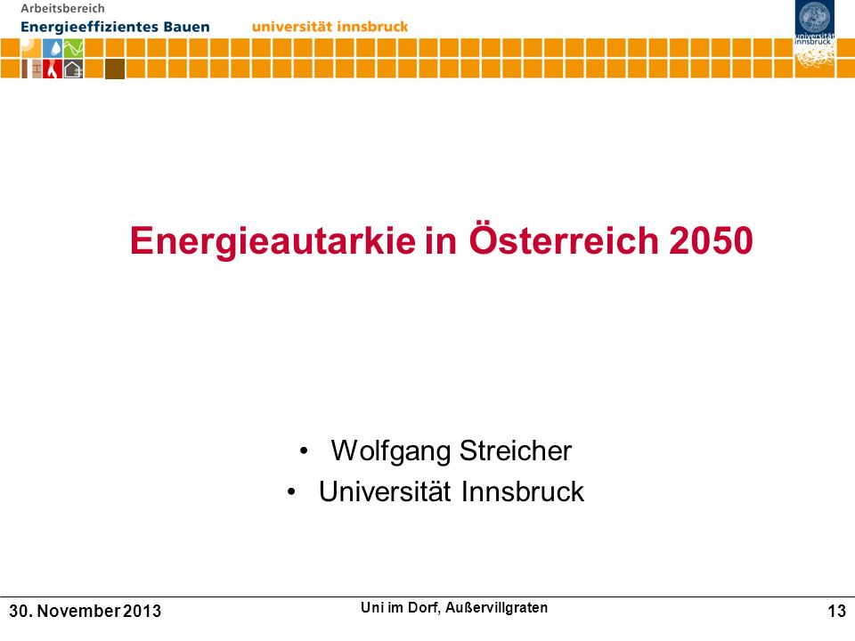 Energieautarkie in Österreich 2050