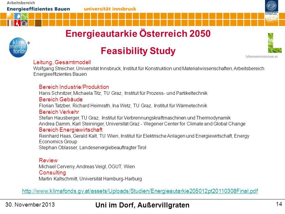 Energieautarkie Österreich 2050 Uni im Dorf, Außervillgraten