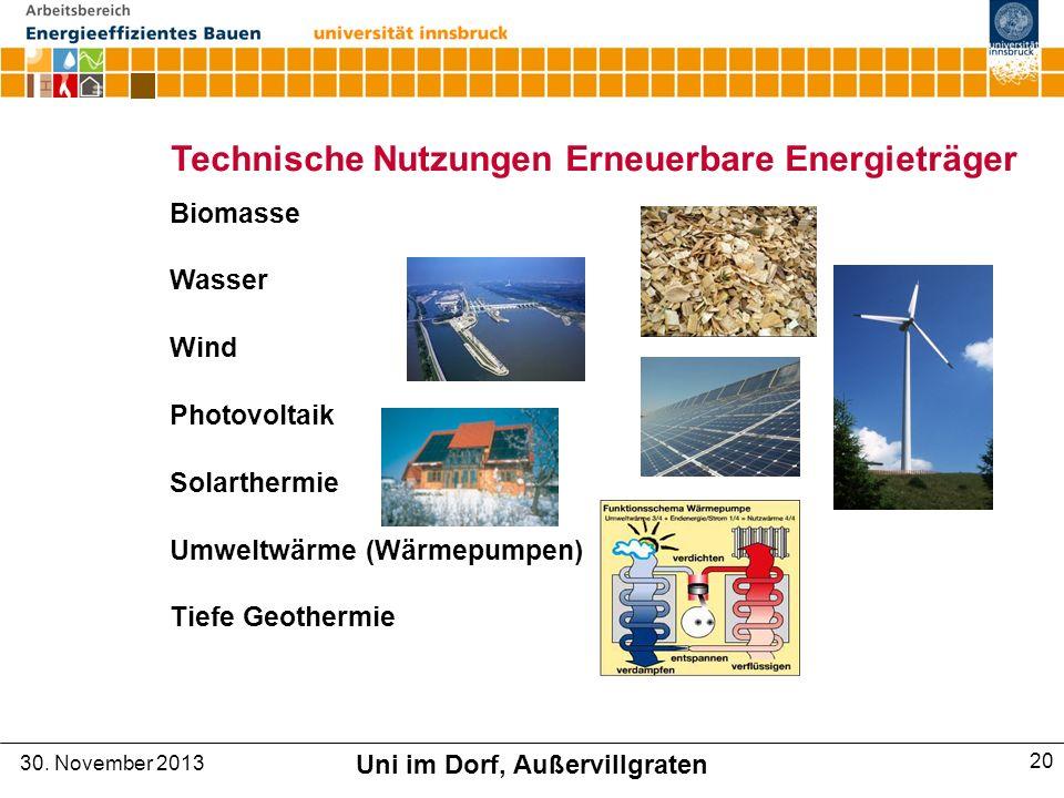 Technische Nutzungen Erneuerbare Energieträger