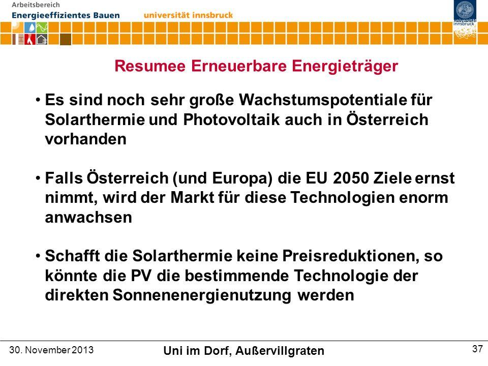 Resumee Erneuerbare Energieträger Uni im Dorf, Außervillgraten