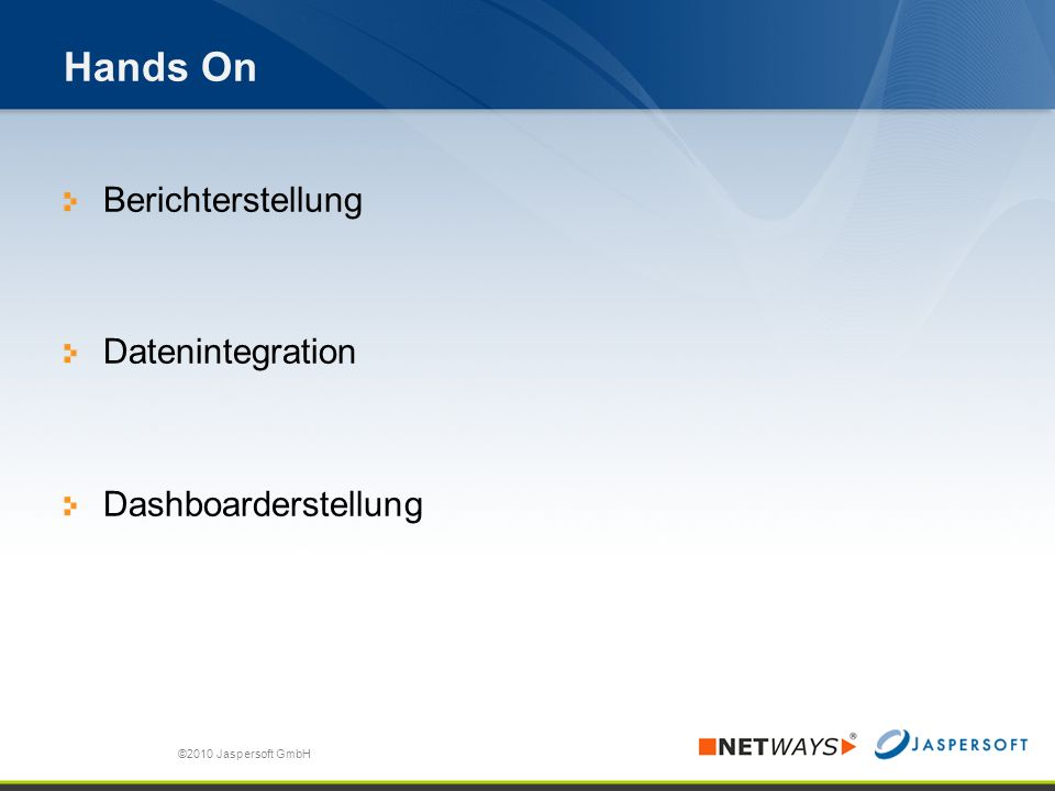 Hands On Berichterstellung Datenintegration Dashboarderstellung