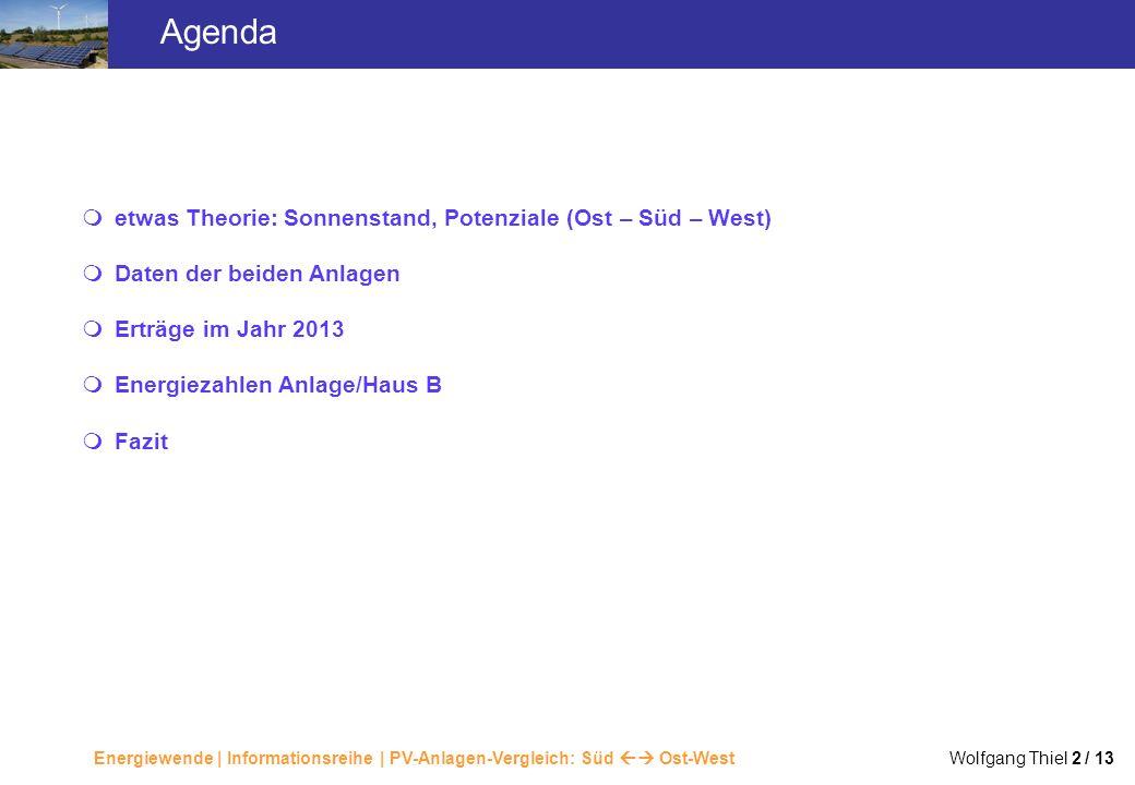 Agenda etwas Theorie: Sonnenstand, Potenziale (Ost – Süd – West) Daten der beiden Anlagen. Erträge im Jahr 2013.