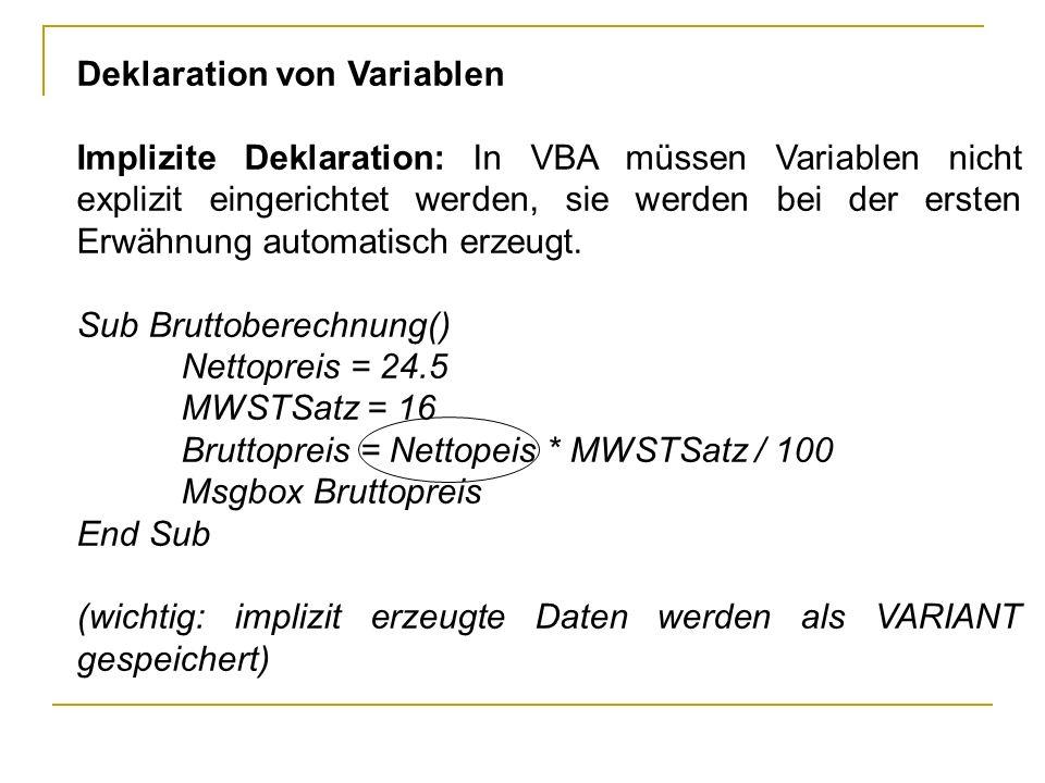 Deklaration von Variablen