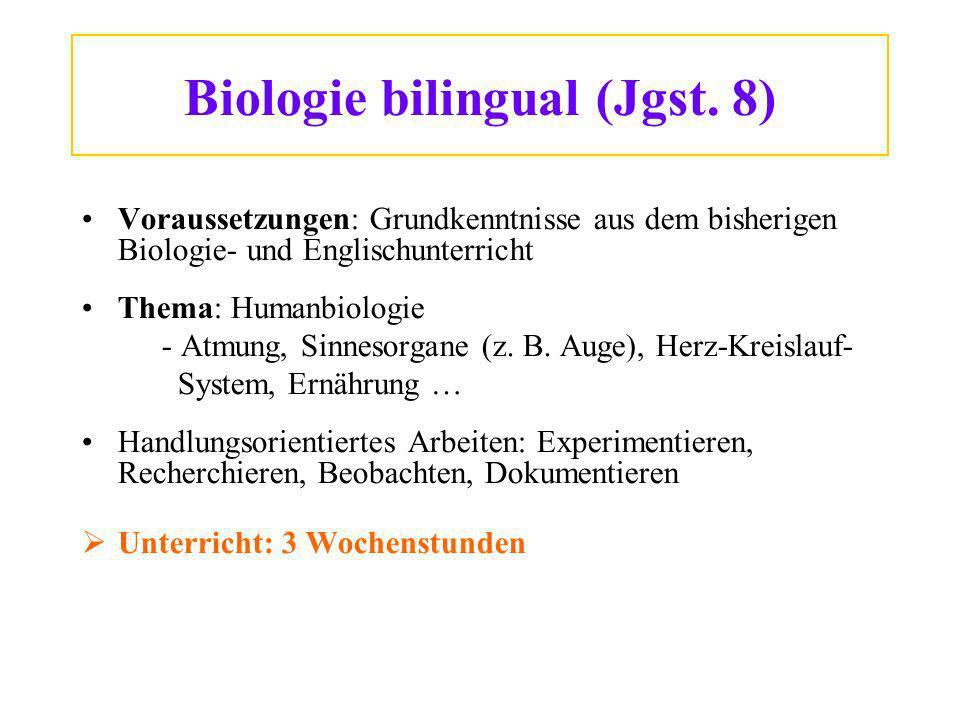 Biologie bilingual (Jgst. 8)