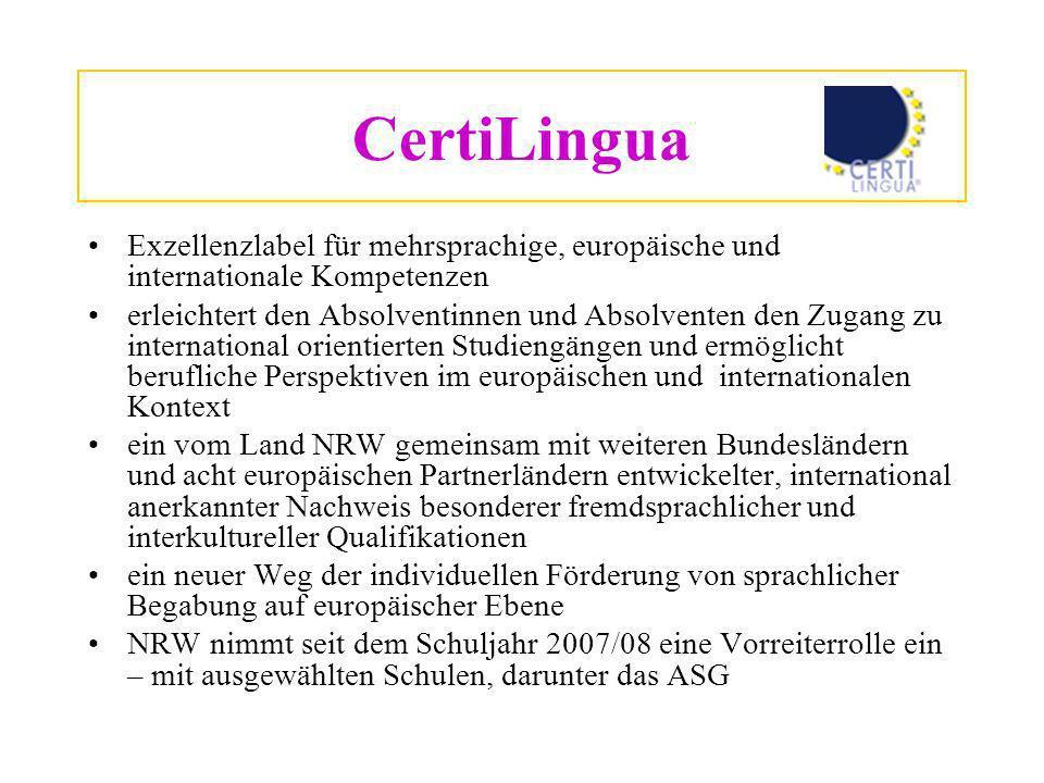 CertiLingua Exzellenzlabel für mehrsprachige, europäische und internationale Kompetenzen.