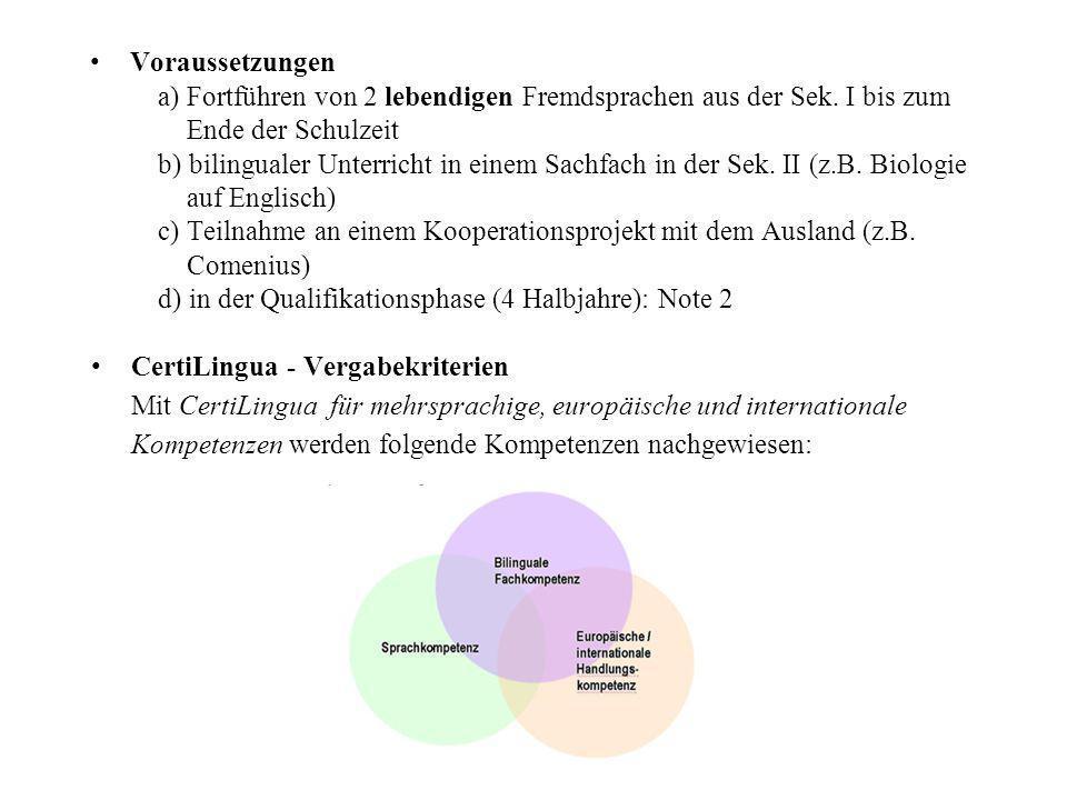 Voraussetzungen a) Fortführen von 2 lebendigen Fremdsprachen aus der Sek. I bis zum Ende der Schulzeit b) bilingualer Unterricht in einem Sachfach in der Sek. II (z.B. Biologie auf Englisch) c) Teilnahme an einem Kooperationsprojekt mit dem Ausland (z.B. Comenius) d) in der Qualifikationsphase (4 Halbjahre): Note 2