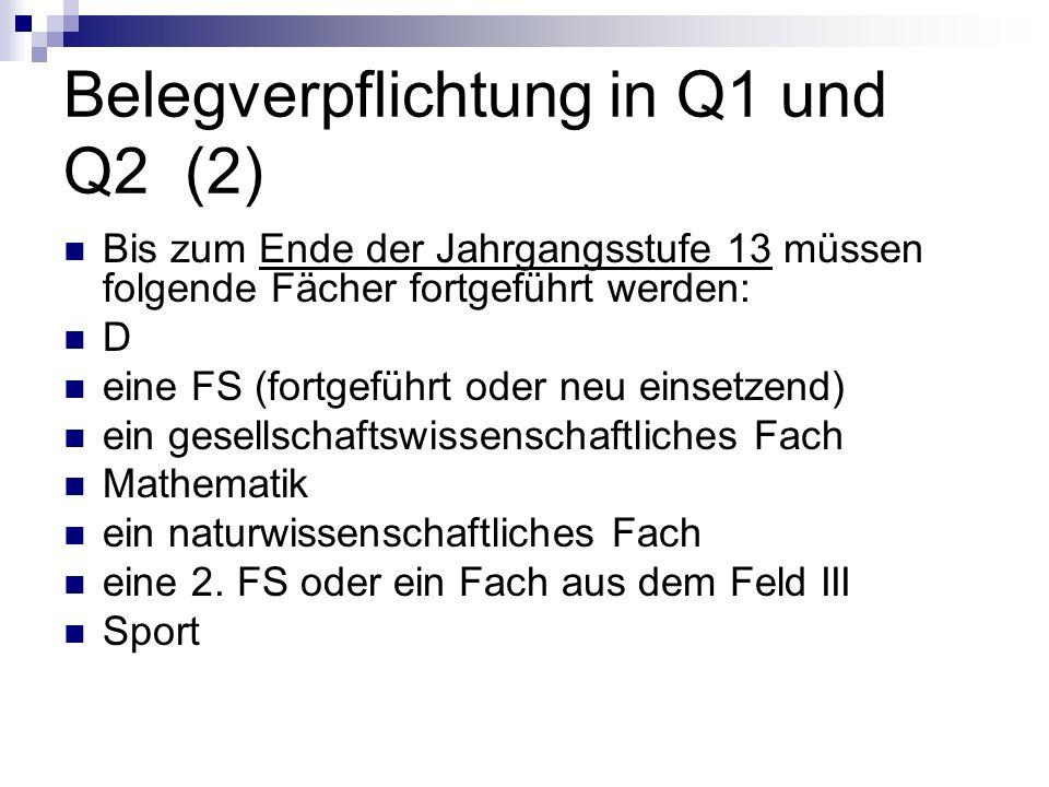 Belegverpflichtung in Q1 und Q2 (2)