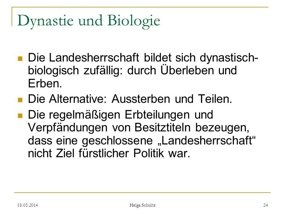 Dynastie und Biologie Die Landesherrschaft bildet sich dynastisch-biologisch zufällig: durch Überleben und Erben.
