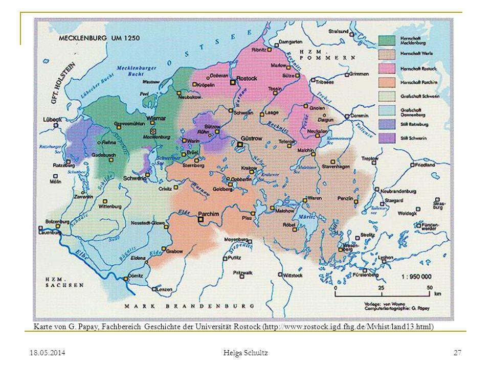 Karte von G. Papay, Fachbereich Geschichte der Universität Rostock (http://www.rostock.igd.fhg.de/Mvhist/land13.html)
