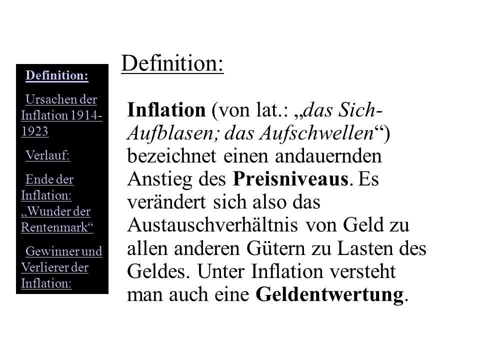 """Definition: Definition: Ursachen der Inflation 1914-1923. Verlauf: Ende der Inflation: """"Wunder der Rentenmark"""