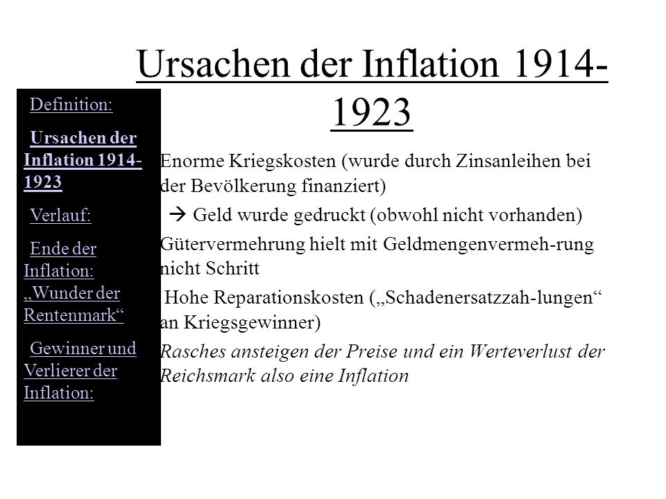 Ursachen der Inflation 1914-1923